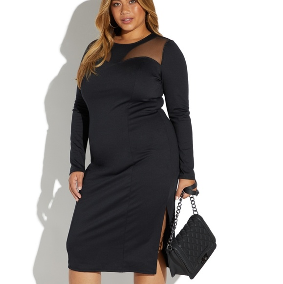 Shoe Dazzle Dresses & Skirts - Black mesh insert midi dress